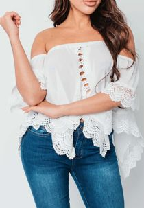 Black Crochet Trim Bardot Top