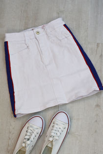 White Denim Distressed With Blue Strips Skirt