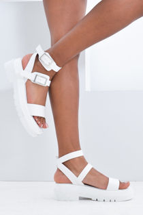 White Double Buckle Chunky Platform Sandals