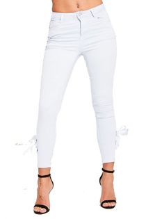 White Eyelet Ribbon Tie Up Jeans