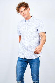 White Feather Print Short Sleeve Shirt