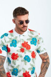 White Floral Print Polo Shirt