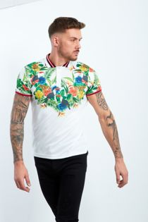 White Foral Print Muscle Fit Polo Shirt