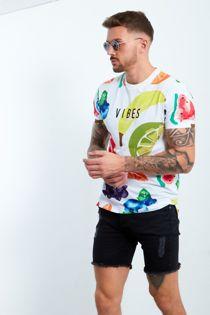 White Fruit Printed Vibes T-shirt