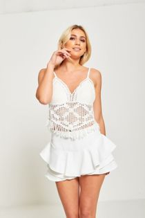 White High Waist Frill Skorts