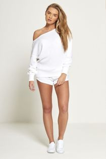 White Marl Knit Jumper And Short Set