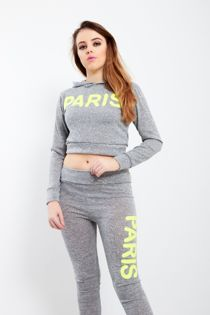 White Paris Slogan Hooded Tracksuit