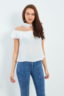 White Pearl Embroidery Collar Frill Blouse