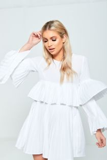 White Pleated Ruffle Mini Dress