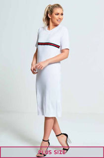 White Plus Size Red and Green Striped T Maxi Dress