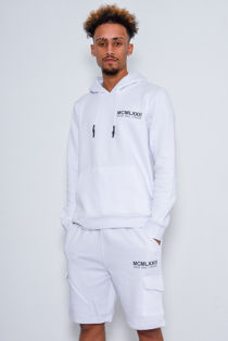 White Printed Hoodie And Short Tracksuit