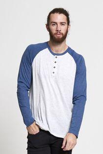 White Raglan Button Up T-Shirt