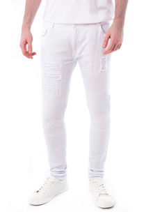 White Ribbed Knee Distressed Skinny Jeans