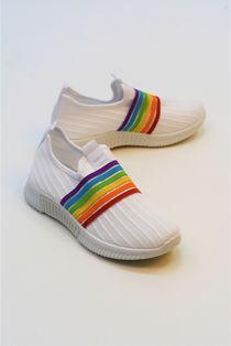 White Slip On Strapped Training Shoe