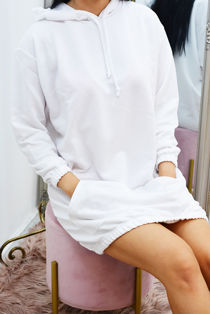 White Slouchy Pocket Hooded Sweat Dress