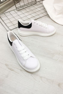 White With Black Chunky Sole Trainers