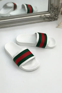 White with Red and Green Stripe Sliders