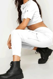 White Woven Utility Cropped Shirt & Pants Lounge Set