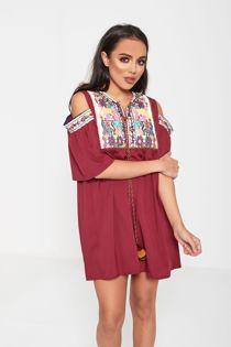 Wine Cold Shoulder Embroidered Tassel Mini Dress