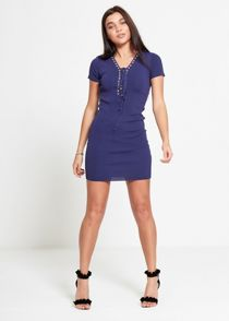 Wine Eyelet Lace Up Dress