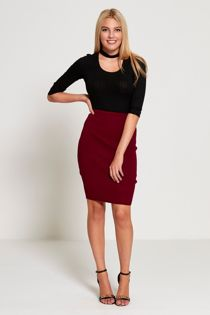 Wine Knit Classic Pencil Skirt