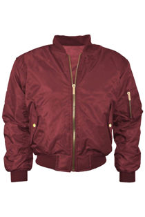 Wine MA1 Bomber Jacket Zip Up Biker Jacket