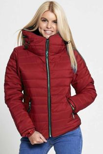 Wine Quilted Padded Puffer Bubble Fur Collar Jacket