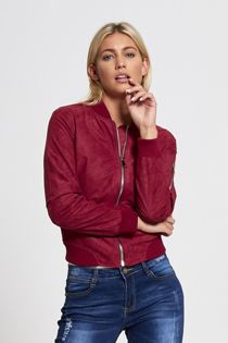Wine Suede Bomber Jacket