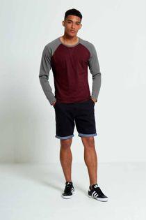 Wine Two-Tone Raglan Long Sleeve T-Shirt
