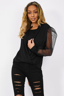 Wrap Over Dobby Mesh Top