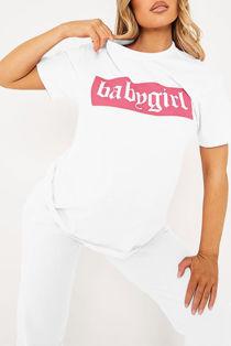 White Babygirl Oversized Tee