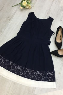 White Contrast Navy Lace Skater Dress