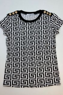 White Full Geometric Pattern Tee Top