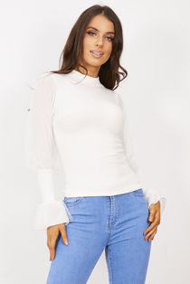 White Ribbed Flounce Sleeve Top