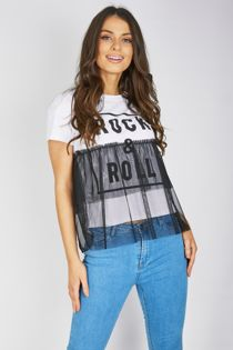 White Rock N Roll Mesh Overlay T-Shirt Top