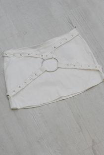 White Studded Harness Denim Skirt