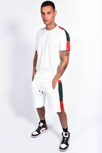 White With Red And Green Side Stripe Short Set