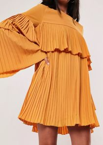 Mustard Pleated Ruffle Mini Dress-Copy