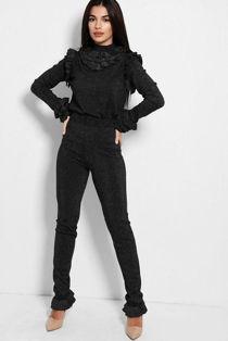 Black Glitter Frill Trim Knitted Lounge Set