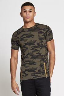 Khaki Camo Zip Detail Muscle Fit T-Shirt