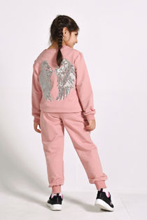 Girls Pink Sequin Angel Wings Back Loungewear
