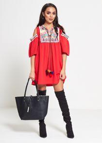 Red Cold Shoulder Embroidered Tassel Mini Dress