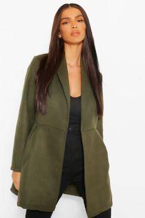 Khaki Belted Wrap Detail Wool Look Coat