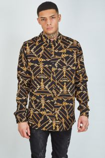 Black Chain Print Shirt