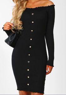 Black Button Up Ribbed Bardot Dress