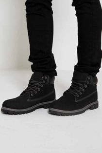 Black Suede Effect Boots