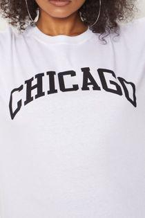 White Chicago Oversized Long T-Shirt