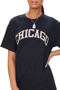 Black Chicago Oversized T-Shirt Dress