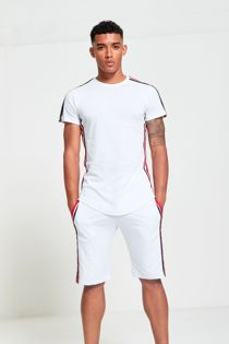 White Tape Stripe T-Shirt and Short Set