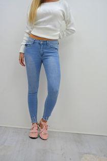 Light Denim Hem Skinny Fit Jeans